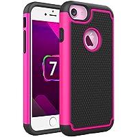 iPhone 7 Custodia, Pasonomi Doppio Strato Portatile Custodia Copertura Protettiva Tasca Custodia Cover Case per iphone 7, Rosa Caldo