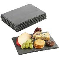 VonShef Set de 6 assiettes rectangles à dessert/fromage en ardoise - 22x16 cm