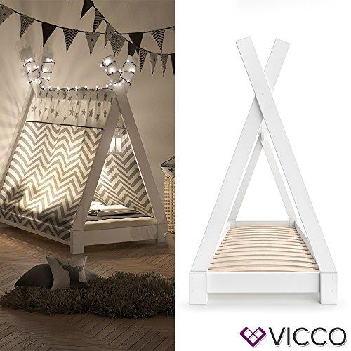 Vicco Kinderbett TIPI Kinderhaus Indianer Zelt Bett Kinder Holz Haus  Schlafen Spielbett Hausbett 70x140 (Weiß Mit Matratze)