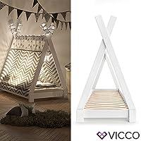 Preisvergleich für Vicco Kinderbett Tipi Kinderhaus Indianer Zelt Bett Kinder Holz Haus Schlafen Spielbett Hausbett 70x140 (Weiß)