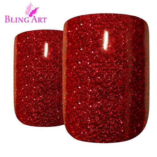 Faux Ongles Bling Art Gel Rouge 24 Squoval Moyen Faux bouts d'ongles acrylique avec de la colle