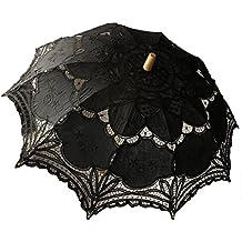 Boda paraguas de encaje sombrilla Victorian Lady accesorio de disfraz novia partido decoración Photo Props negro tamaño único
