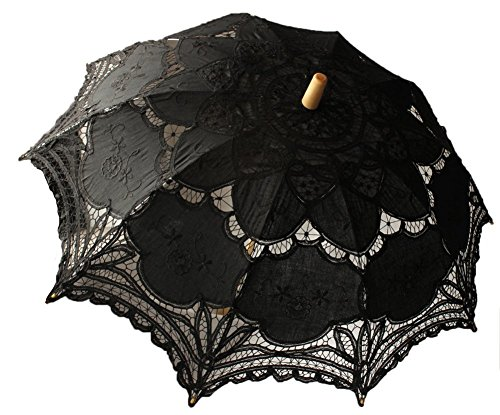 Womens Kostüm Gothic - Danapp Hochzeit Sonnenschirm mit Spitze Viktorianische Lady Kostüm Zubehör Brautschmuck Party Dekoration Foto Requisiten schwarz Einheitsgröße