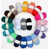 Paquete de 20 x 50 G de lana multicolor Rellana Carina perla brillante varios colores cada uno 1 x 50 G Ovillo de lana para tejer por color paquete de manualidades de punto, ganchillo lana, lana de tejer, lana washati