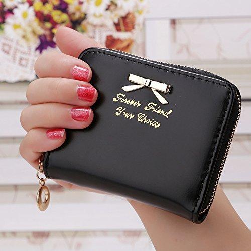Mini portafoglio, portamonete, ruirs Nizza Fashion Mini Portafoglio in pelle PU portafoglio portamonete donna Mini Borsa (Nero)