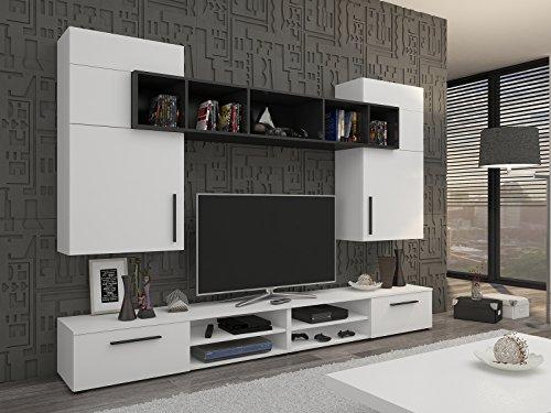 Wohnwand Wohnzimmer Set Weiß Schwarz Möbel Hängeschränke Lowboard Regal NEU  MANTU