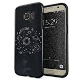 Glitbit Samsung Galaxy S7 Edge Hülle Cute Solar System Galaxy Stars Planet Earth Moon Universe Space Welt Sterne Universum Robustes Stoßfestes Doppellagiges Hardcase + Silikon Handyhülle Case Cover