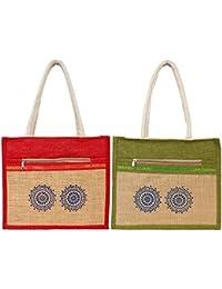Styles Creation Combo Of Red & Green Designer Tiffin Bag/ Carry Bag/ Jute Bag/ Hot Case Handbag Lunch Bag (HNDBG32)