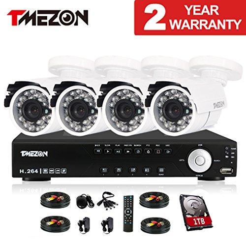 Preisvergleich Produktbild Tmezon CCTV Sicherheit Videoüberwachung überwachungssystem 4CH 960H / 720P DVR / NVR / HVR 3 In 1 Recorder mit 4x1000TVL überwachungskameras wetterfest Nachtsicht, Unterstützen P2P Smartphone Fernzugriff, 1TB Festplatte
