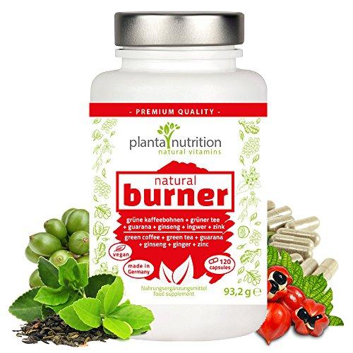 FATBURNER AUF NATÜRLICHER BASIS *NEU* | 120 VEGANE KAPSELN für Ihre erfolgreiche Diät und ein gesundes Abnehmen auf natürlicher Basis | mit GUARANA, GRÜNER TEE EXTRAKT, GRÜNE KAFFEEBOHNEN EXTRAKT, GINSENG, INGWER und ZINK in hochdosierter Formel | Stoffwechsel anregen und schnell Fett verbrennen | planta nutrition - natural vitamins