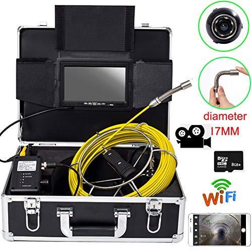 YUYUELONGMEN 7 Zoll 17mm Industrielle Rohr Kanalisation Inspektion IP68 Drainage Test 1000 TVL Kamera mit DVR und WiFi (50M