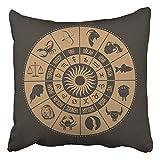 Segni zodiacali Che disegnano la Scrittura Turca di Simboli dello Zodiaco Decor Federe Focolare in Poliestere 45x45cm Cuscino da casa con Cerniera Nascosta