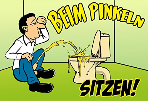 """""""Beim Pinkeln Sitzen"""" - blechschild, lustig, comic, toilette humor, funschild, Barschild, metallschild"""
