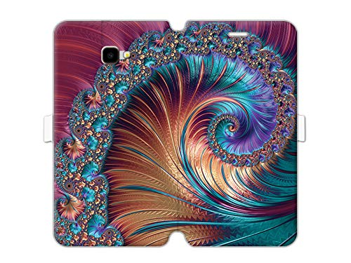 etuo Samsung Galaxy J4 Plus - Hülle Wallet Book Fantastic - Buntes Fraktal - Handyhülle Schutzhülle Etui Case Cover Tasche für Handy