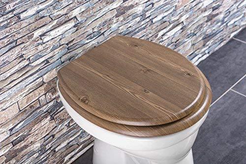 Aquashine® Luxus WC Sitz Holz-Optik | Edelstahl Scharniere | Universal Toiletten Sitz mit Absenkautomatik (Nussholz)