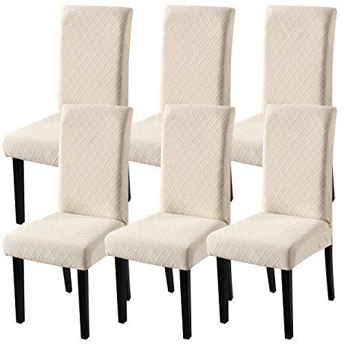 YISUN Universal Stretch Stuhlhussen 4er 6er Set Stuhlbezug für Stuhl Esszimmer (6er Set, Beige)