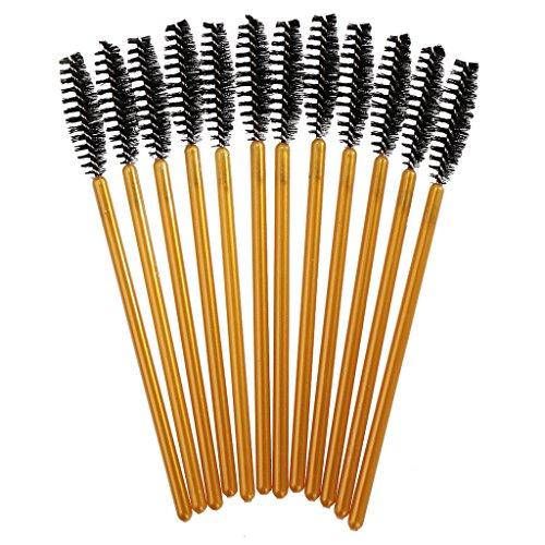 12pcs Brosse à Cils Jetable Spoolers Baguettes de Mascara Applicateurs de Maquillage - Or