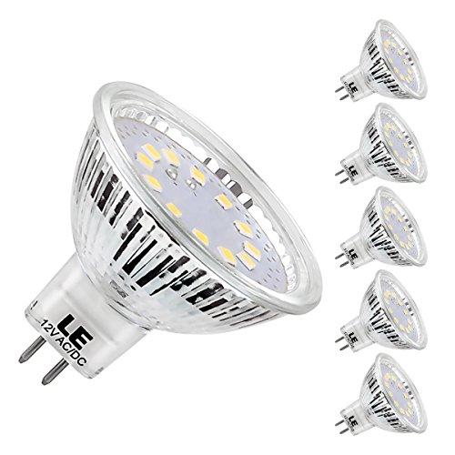 LE Ampoules LED GU5.3 3.5W (=35W ampoule halogène) MR16, 5000K Blanc Froid, 12V DC/AC ,Lot de 5 unités