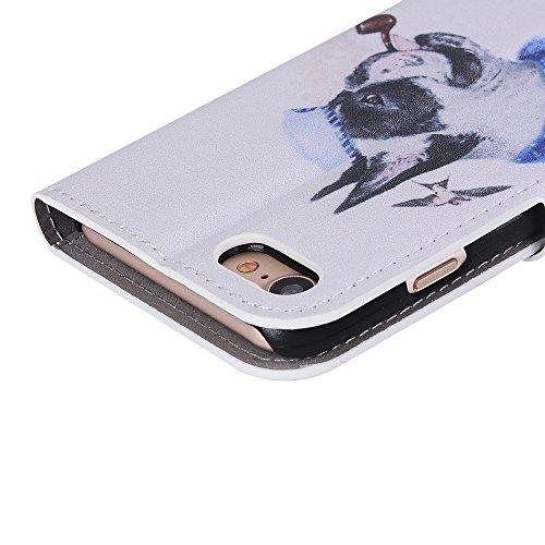 Voguecase Pour Apple iPhone 7 4,7 Coque, Étui en cuir synthétique chic avec fonction support pratique pour iPhone 7 4,7 (Grille irrégulière-Noir)de Gratuit stylet l'écran aléatoire universelle chien pipe