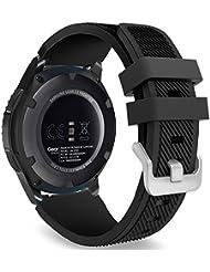 MoKo Samsung Gear S3 Frontier / Classic / Moto 360 2nd Gen 46mm Watch Armband - Silikon Sportarmband Uhr Band Strap Erstatzband Uhrenarmband für Samsung Gear S3 Classic Samrtwatch, Schwarz (Nicht für Gear S2 Classic)