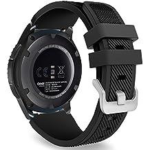 MoKo Samsung Gear S3 Frontier / Classic / Moto 360 2nd Gen 46mm Correa - Watch Band Deportiva de Silicona Suave Reemplazo Sport Band para Samsung Gear S3 Frontier / S3 Classic Smartwatch, Negro