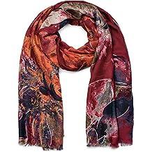 styleBREAKER Châle pour femme avec motif abstrait à fleurs et franges,  écharpe d hiver 1f83f0f2c65