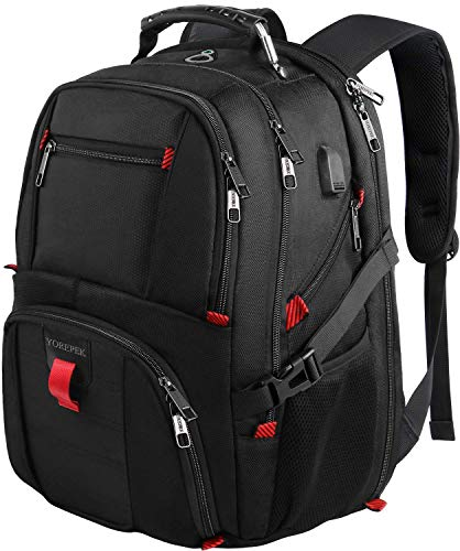 Yorepek Large Laptop Backpack,Extra College School Rucksack w/USB Charging Port Rucksack, 46 cm, Schwarz (Black)