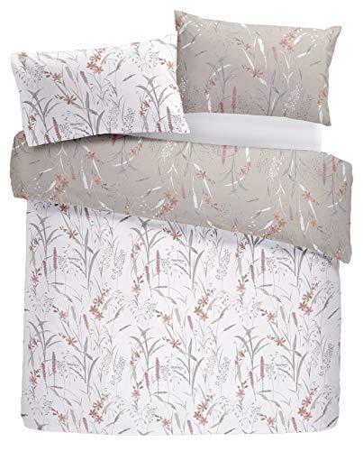 Blume Blumen Gras Pink Grau Baumwollgemisch Kingsize-Bettbezug & Vorhänge Ringaufhängung (Bettwäsche-daunendecke-abdeckung)