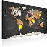 murando - Mapamundi con tablero para clavar chinchetas 90x60 cm - Cuadro en Lienzo - Panel de Fibra - Mapa del Mundo Continente - k-C-0048-v-a