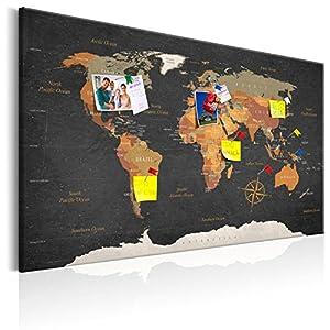 murando – Mapamundi con Tablero para Clavar chinchetas 90×60 cm – Cuadro en Lienzo sintético – Panel de Fibra – Mapa del Mundo Continente – k-C-0048-v-a
