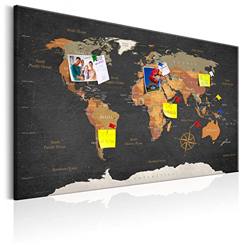 murando - Weltkarte Pinnwand & Leinwandbild 120x80 cm 1 Teilig Kunstdruck modern Wandbilder XXL Wanddekoration Design Wand Bild - Landkarte Karte Reise Geographie k-C-0048-v-a