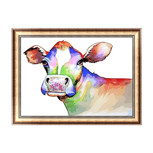 fogun Colorful Kuh DIY 5D Diamant Stickerei Gemälde Kreuzstich Craft Home Decor (Bunte Kuh-malerei)