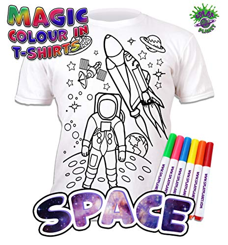Splat Planet Colour-in Space Man and Space Rocket T-Shirt with 6 Non-Toxic Washable Magic Pens - Colour-in and Wash Out T-Shirt