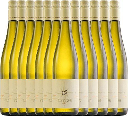 12er Paket - Tagtraum 2017 - Ellermann-Spiegel   halbtrockener Weißwein   deutscher Sommerwein aus der Pfalz   12 x 0,75 Liter