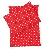 Sugarapple Little Puppenbettwäsche 3-teilig für Puppen Größe 36 cm - 44 cm, Öko Tex Standard, (Punkte Fliegenpilz)