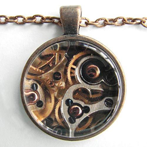 Go Forward Steampunk-Halskette, Steampunk-Uhr-Halskette, Steampunk-Technologie, Kunst, Zahnräder, kleine Räder, Rubin-Juwelen-Uhrwerk, Freundschaftsmarken