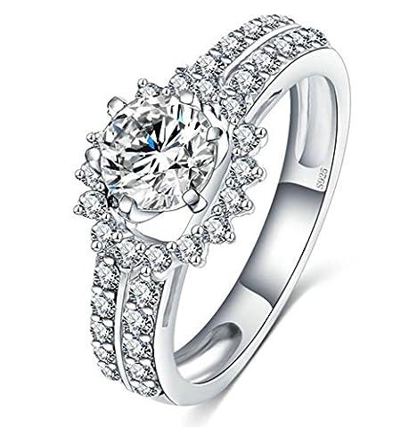 Gnzoe Schmuck 925 Sterling Silber Halo Cubic Zirkonia Damen Verlobungsringe