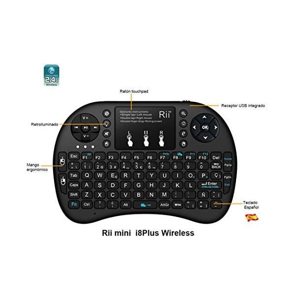 51GWC8cZOHL. SS600  - (Novedad 2015, con Luz de fondo) Rii mini i8+ Mini teclado ergonómico con ratón tipo touchpad incorporado. Compatible con SmartTV, Mini PC, Android, PS3, PS4, Xbox, HTPC, PC, Raspberry Pi, Kodi, XBMC, IPTV, MacOS, Linux y Windows XP/7/8/10