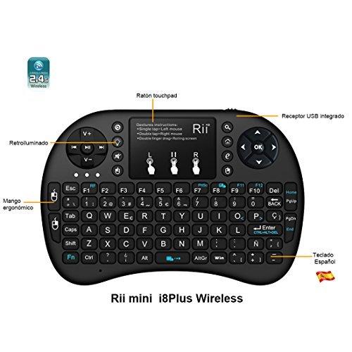 51GWC8cZOHL - (Actualizado, Retroiluminado) Rii i8+ Mini teclado inalámbrico 2.4Ghz con touchpad integrado, retroiluminación Led y batería recargable de Litio-ION de larga duración.