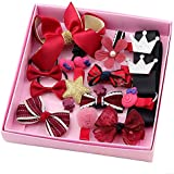 Aguder Hair Clips Cute Bowknot Crown Hair Barrette Hairpin Headdress Bows Accessories For Photography Pops Costume Party Baby Girls Kids Toddler Birthday Gift (18pcs Red)
