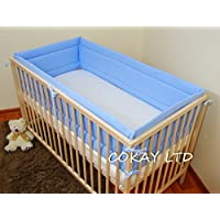 Luxury ALL ROUND NURSERY BUMPER//420//360cm long//Padded 4 Sided//Cot Bed  COTTON!