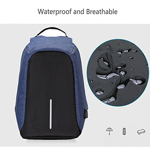Wearslim - Ghost Anti Theft Travel Waterproof with USB charging port - Blue Color Laptop Backpack / anti theft bags / anti theft laptop bags / Anti theft bag / Anti theft laptop bag / anti theft laptop backpack / laptop bagpack (Blue)
