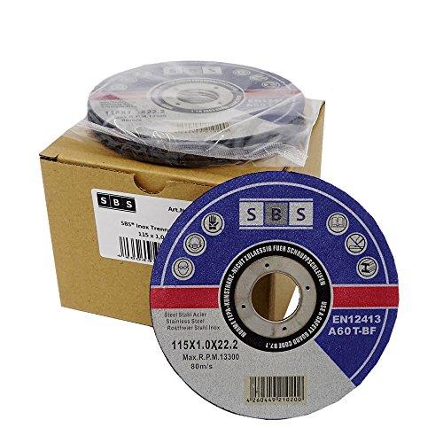 SBS   Schlößer Baustoffe   Disco de corte (acero inoxidable  50 unidades  115 x 1 mm)