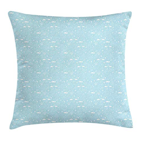 Faux Silk Coat (RAINNY Blue and White Throw Pillow Cushion Cover, Doodle Style Rainy Season Elements Coat Umbrella Boat and Rainbows, Decorative Square Accent Pillow Case, 18 X 18 inches, Pale Blue and White)