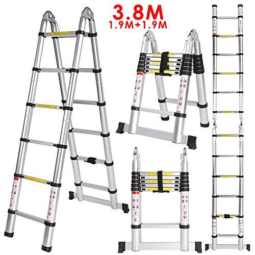 Homdox escalera telescópica de aluminio multiusos, escalera extensible 3,8m, carga máxima de 150kg (certificados EN131/CE incluidos)