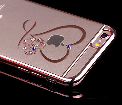 Coque iPhone SE,Coque iPhone 5S,Coque iPhone 5,Coque Étui Case pour iPhone SE / 5S / 5,ikasus® Plating Rose Golden Placage or rose Coque iPhone SE / 5S / 5 Silicone Étui Housse Téléphone Couverture TP Or Rose Coeur Mini Amour