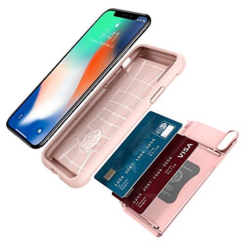 iPhone X Hülle, Spigen® [Crystal Wallet] Kartenfach [Rose Gold] Doppelte Schutzschicht Transparent Silikon TPU + PC Handyhülle Extrem Hoher Fallschutz Card Holder Schutzhülle für iPhone X Case Cover - CW Rose Gold