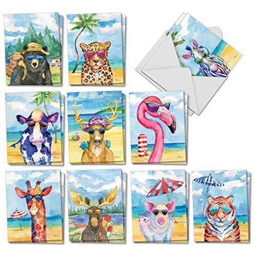 Animal's Day Off: 20 sortierte Notizkarten für alle Anlässe, 10 x 13 cm, mit Umschlägen. AM6670OCB-B2x10