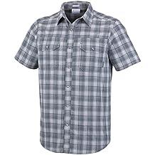 Columbia Leadville Ridge YD Short Sleeve Camisa, Hombre, Gris (Gris Small Plaid), L