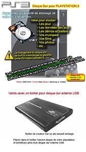 Pack Disque Dur 500 Go + boitier - Prêt à l'emploi disque dur externe compatible Playstation 3 / PS3 / XP / Vista / Seven / Mac OS 10.x et plus